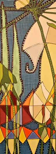 Detail from 'Stained Glass Flowers with Arum Lillies' Andrea Insoll